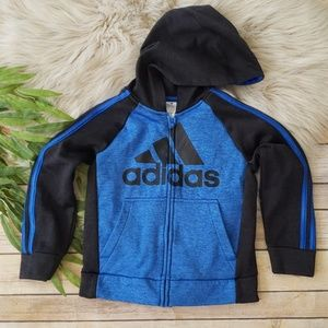 ADIDAS Full Zipper 3 Stripe Track Hooded Jacket